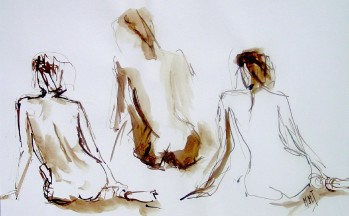 3 Gratiën, bister op papier, 34 x 53 cm