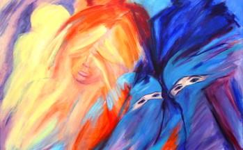 Bedekte ogen, acryl op linnen, 90 x 100 cm, 2002