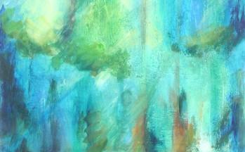 Bosschap, acryl en zand op papier, 1997 (verkocht)