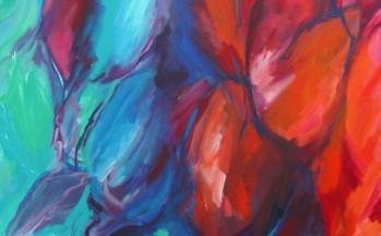 Dialoog in rood en blauw, acryl op linnen, 90 x 90 cm, 2008 (verkocht)