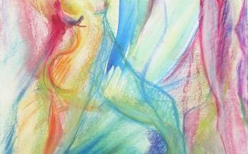 Fête des fous, aquarel en pastelkrijt op papier, 32 x 50 cm, 1998