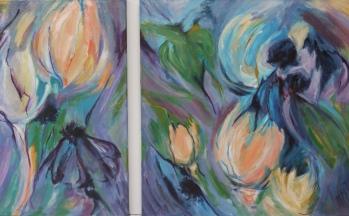 Flora I, acryl 2-luik op linnen, 65 x 100 en 100 x 100 cm, 2002