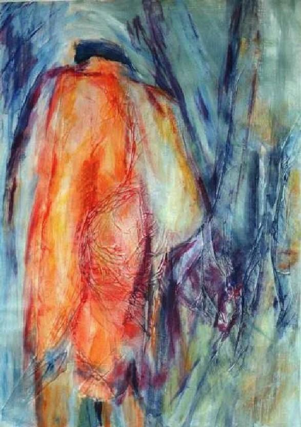 Man in rode jas, acryl, rijstpapier op papier, 70 x 100 cm, 1998