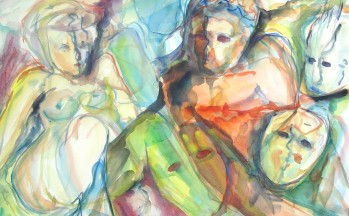 Maskerade, aquarel op papier, 47 x 68 cm, 1998