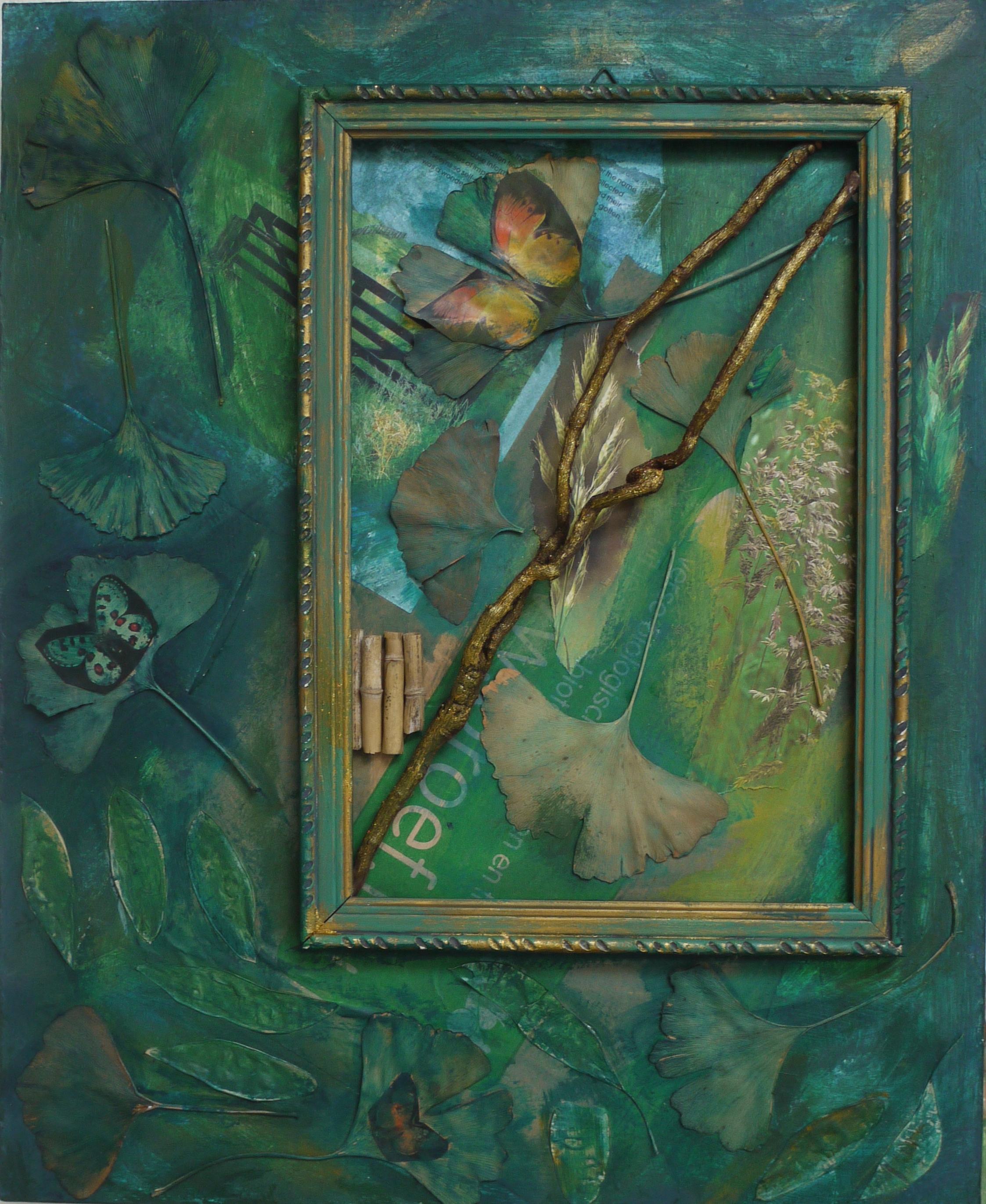 Natuur, collage op paneel, 36 x 44 cm, 2011