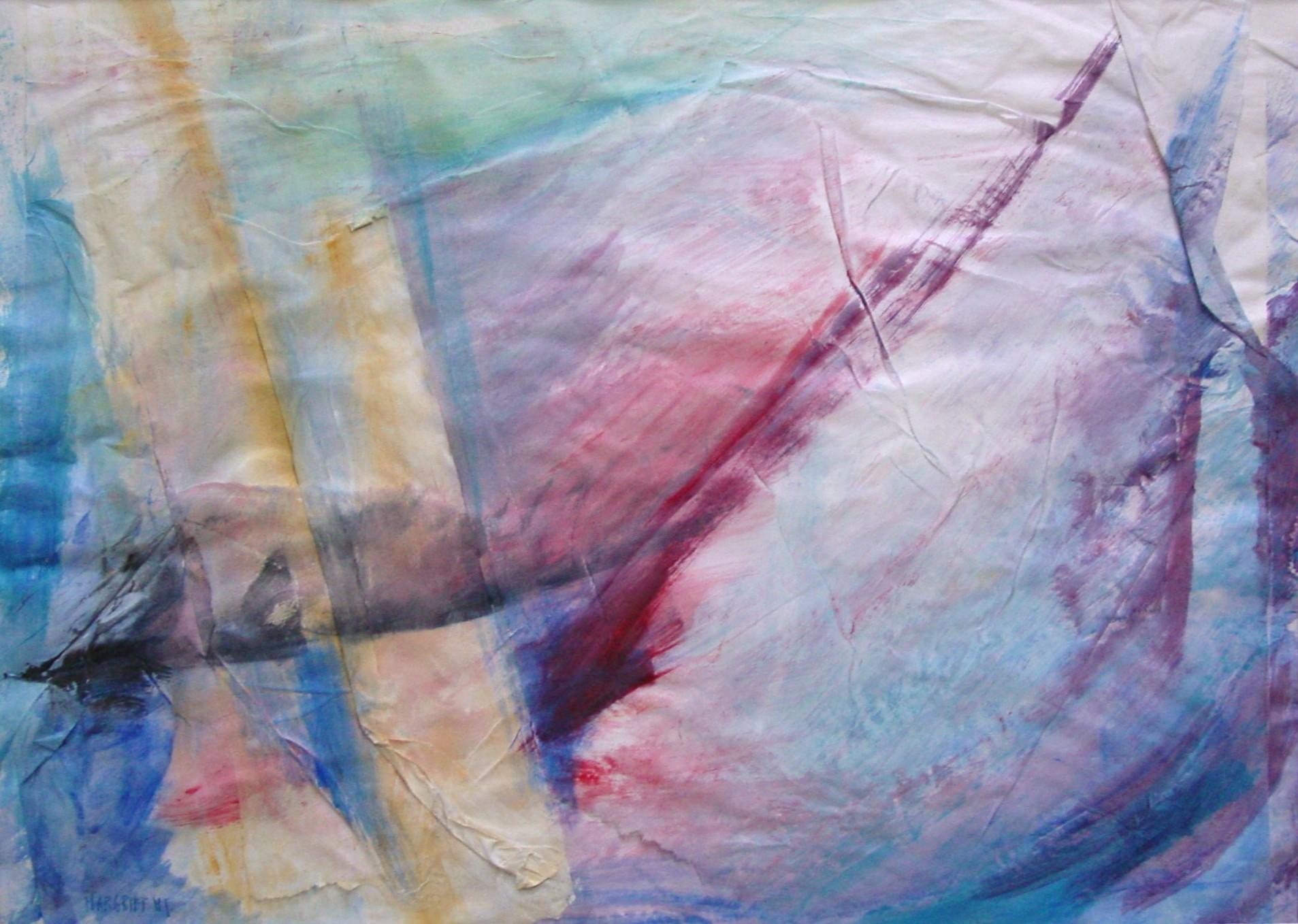 Pier in zicht, acryl, rijstpapier op papier, 43 x 60 cm, 1998
