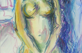 Pubermeisje IV, aquarel, oliepastel op papier, 37 x 48 cm, 1997