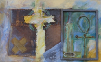Symbool, collage op paneel, 38 x 61 cm, 2011