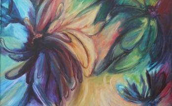 Tropical mood, acryl op linnen, 100 x 120 cm, 2002