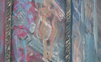 Vrouw, collage op paneel, 30 x 34 cm, 2011