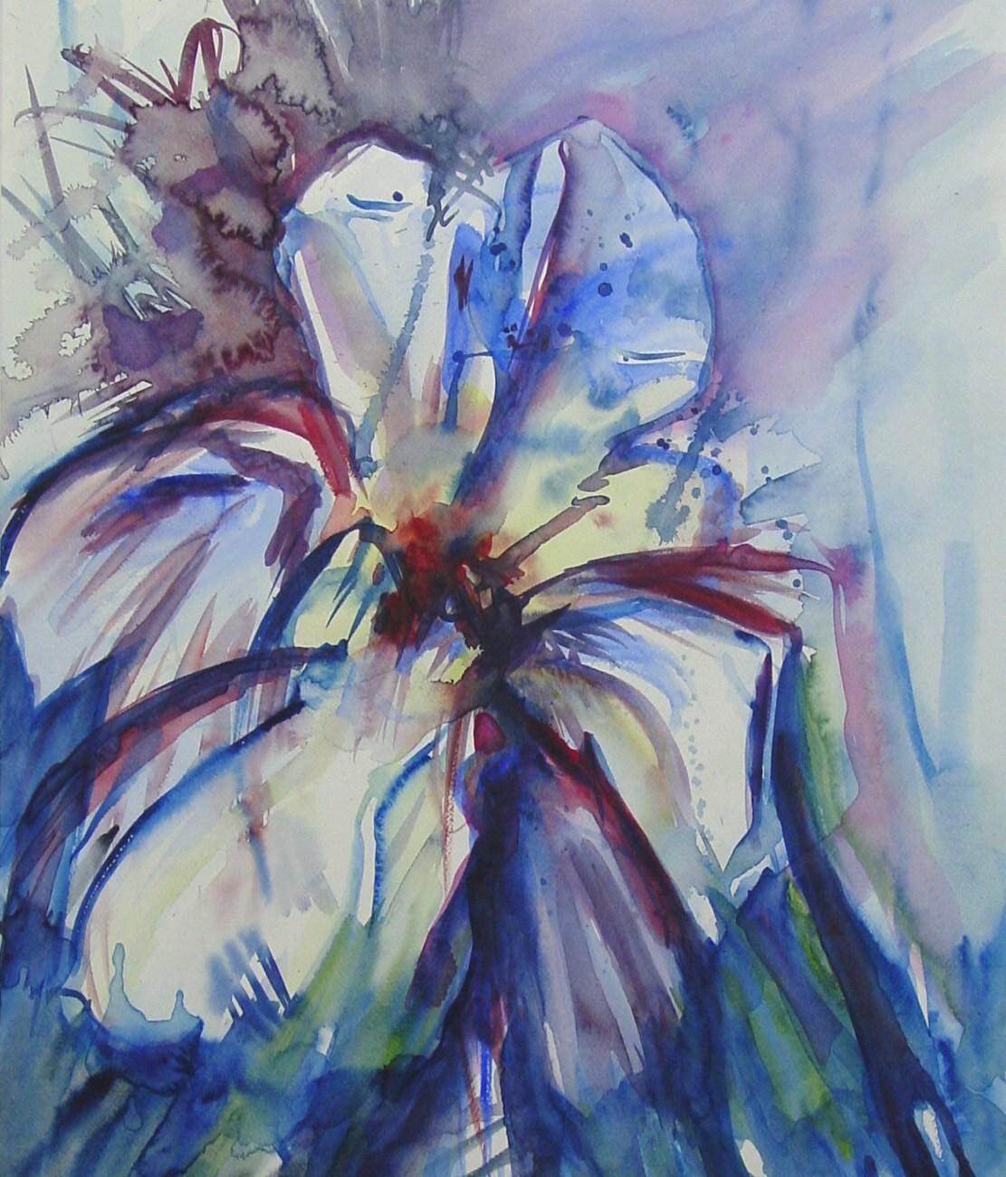 Winterbloem, aquarel op papier, 47 x 66 cm