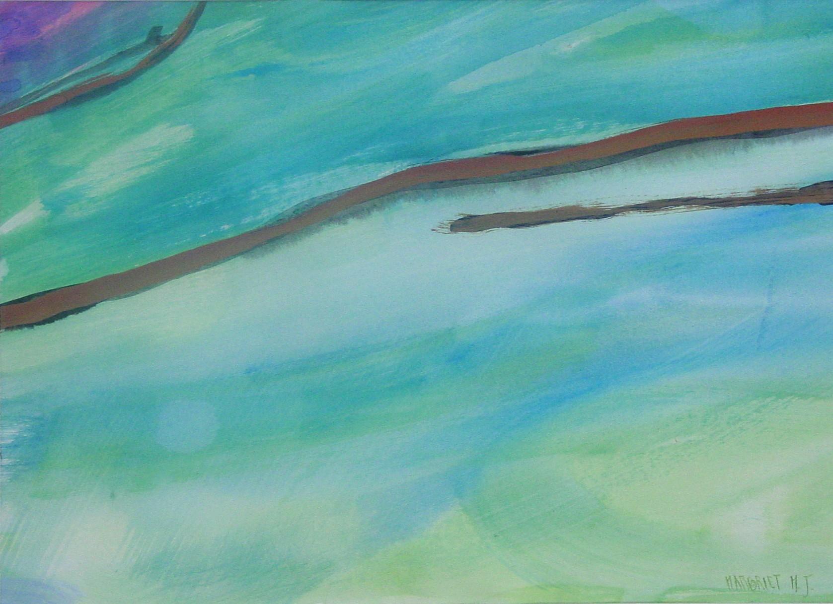 Zeezicht I, acryl op papier, 29 x 40 cm, 1992 (verkocht)