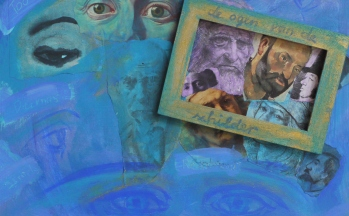 Zien, collage op paneel, 30 x 37 cm, 2011