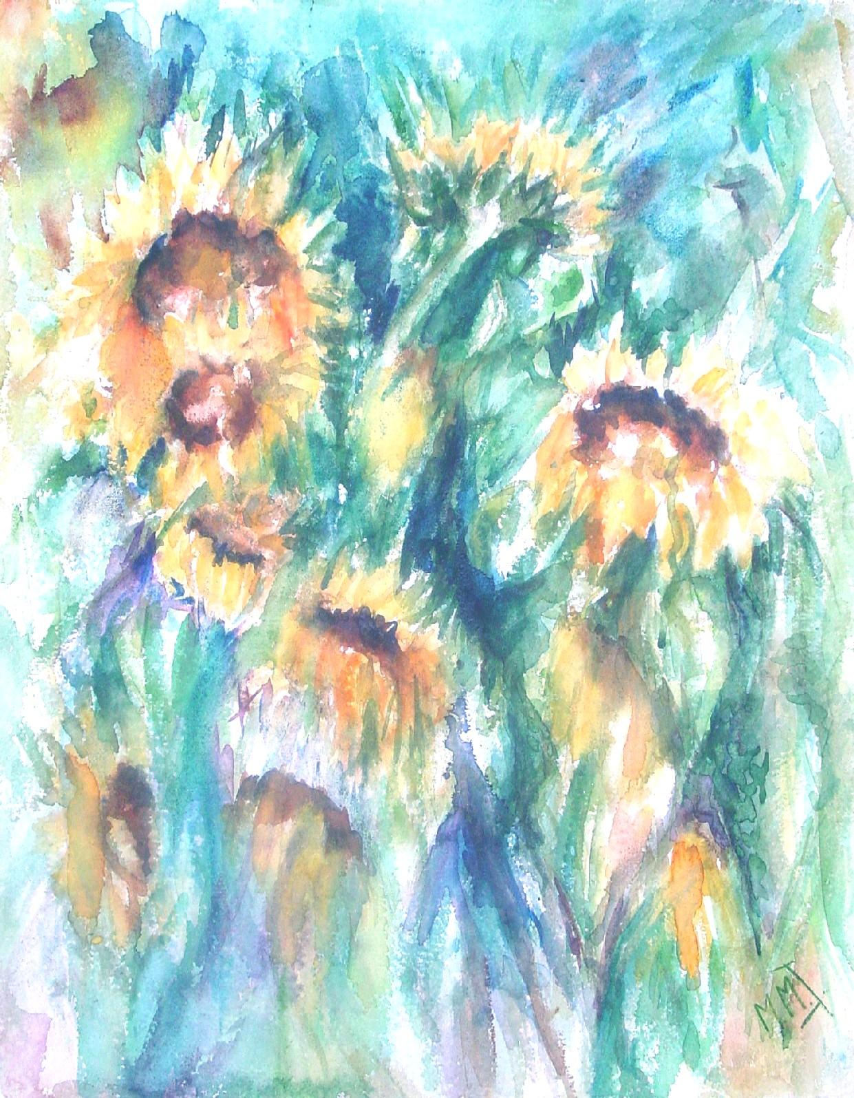Zonnebloemen, aquarel op handgeschept papier, 51 x 66 cm, 2000