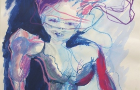 z.t., aquarel en oliepastel op papier