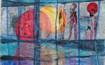 z.t., aquarel, rijstpapier, inkt, krijt op papier, 50 x 65 cm